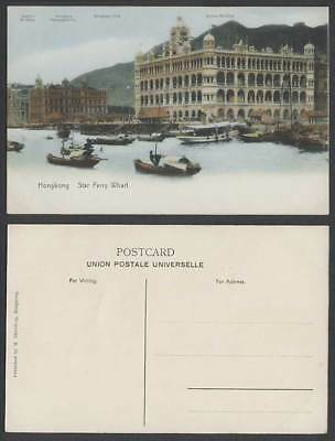 Hong Kong Old Postcard Star Ferry Wharf Telegraphic Co Club Jardins Queens Bldgs