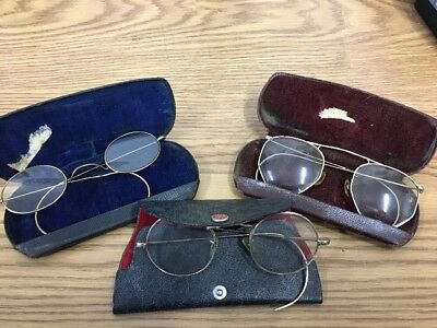 Lot Of Three Antique Gold Filled Eyeglasses w/ Cases - Round, Oval.