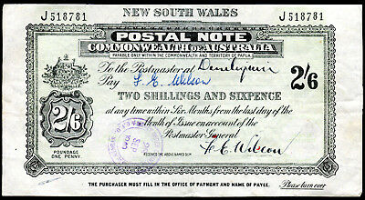 1949 NSW Postal Note Two Shillings & Sixpence, Nice Condition