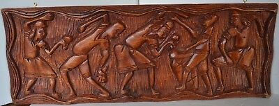 Vintage Carved Wood Musicians African Wall Art