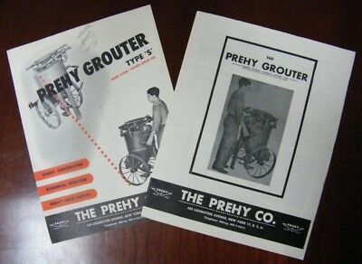 RARE Lot of 2 Vintage PREHY GROUTER ADVERTISING BROCHURE INSTRUCTIONS