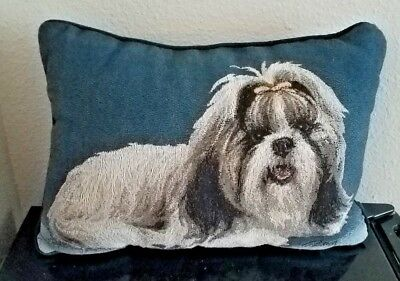 Shih Tzu Tapestry Pillow by Linda Pickens