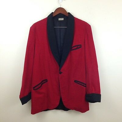 Vtg 50s/60s Mens Red Corduroy Smoking Jacket by Regal Robes Frank & Meyer - Sz L