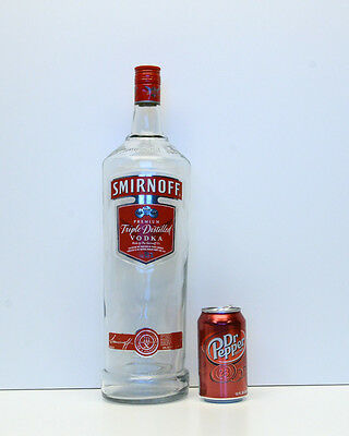 "Smirnoff Vodka Super Large Bottle Bar Display Man Cave EMPTY appx 18"" Tall"