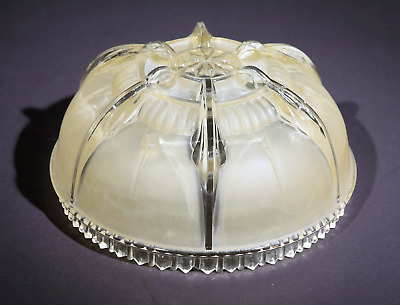 Vtg Antique Chandelier Glass Part Art Deco 3 Hole Bowl Fixture Shade Slip Lamp