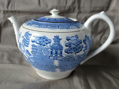 Vintage Antique BLUE WILLOW  Royal Grafton China ENGLAND large 6 cup Teapot 5 ""