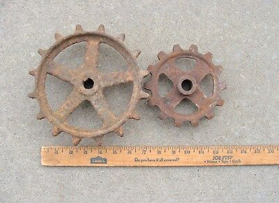 2 Vintage Industrial Cast Iron Gears Steampunk Machine Age Art Deco Retro Craft