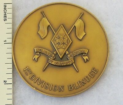 Original FRENCH 1st ARMORED DIVISION BLINDEE Table MEDAL - COLD WAR Vintage