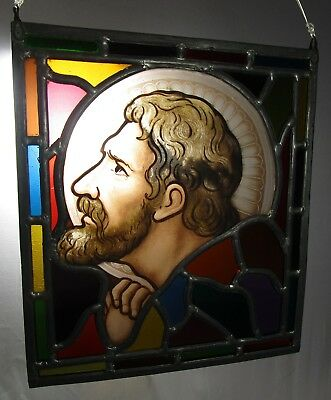 Vintage Stained Leaded Glass Panel Bust of Saint - Age Unknown