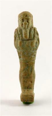 Egypt Late Period to early Ptolemaic Period green faience shabti of Taimhotep