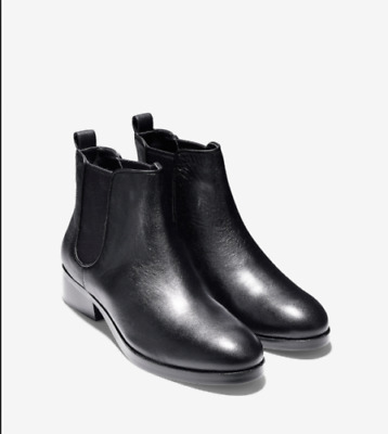 NEW Cole Haan LANDSMAN BOOTIE BLACK Leather Pull On Ankle Boot SHORT SIZE 8 !