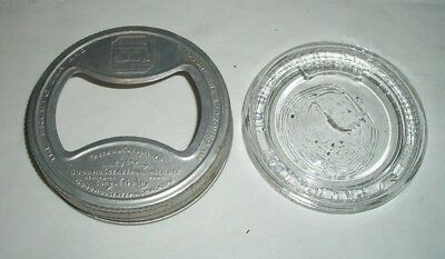 Vintage Presto Wide Mouth GLASS INSERT LID & Metal Ring - Pat #17562 - Antique