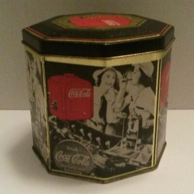 Coca-Cola Octagonal Tin Container / Metal Canister w/ Lid - Drink Coca-Cola