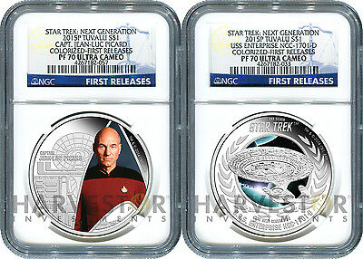 2015 Certified Silver Star Trek 2-Coin Set - Ngc Pf70 First Releases - Ogp & Coa