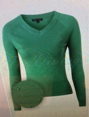 Pullover Vintage, King Louie 50s Lenora Droplet Deep V Top in Winter Green