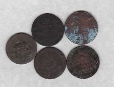FIVE 18th CENTURY HALF PENNY TOKENS IN A WELL USED CONDITION