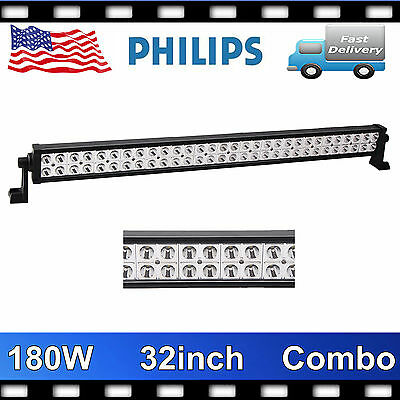 Philips 32inch 180W LED Driving Work Light Bar Spot Flood Lamp Truck 4WD 12V24V