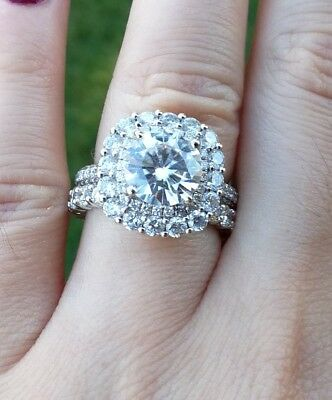 Spectacular Diamond Engagement Ring & Diamond Eternity Ring Set Valued $17,800