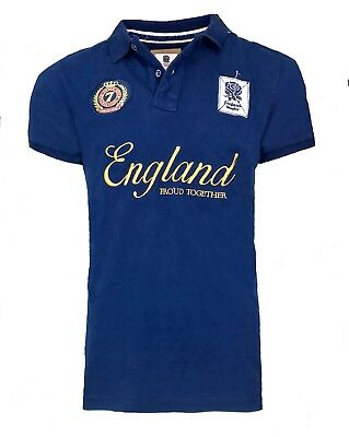 Mens MEDIUM Official ENGLAND RFU Rugby 1871 Together Polo Shirt Top T Navy Blue