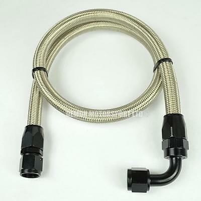 "AN -10 (14mm) 9/16"" Steel Braided Fuel Hose Assembly 91cm Fuel Tank Black"