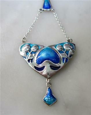 Beautiful Art Nouveau Style Sterling Silver and Enamel  Pendant.