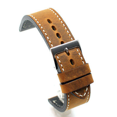 Crazy Horse Vintage Style Brown Leather Watch Strap: 18, 19, 20 or 22mm (AN1)