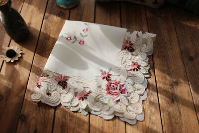 Pretty Pink Rose Flower Embroidery Cutwork Ivory Table Topper 56cm