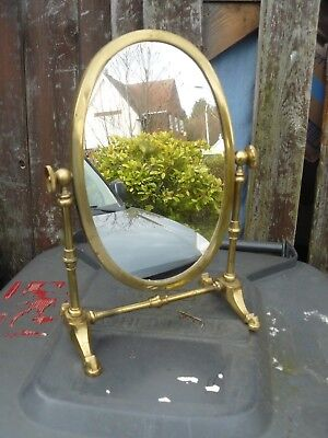 Large Collectable Oval Brass  Dressing Table Vanity Make Up Mirror