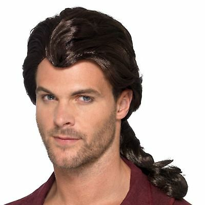 Adult Mens Fairytale Gaston Pirate Marauder Long Wig Beast Fancy Dress Accessory