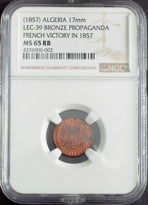 "1857, Algeria. ""Capitulation of Abd-el-Kader"" Coin-Like Medals. NGC MS65/MS66!"