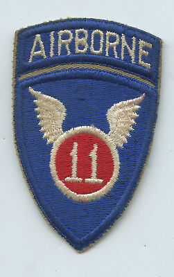 WWII WW2 Patch SSI-11th Airborne Infantry Division ATTACHED TAB One Piece Cotton