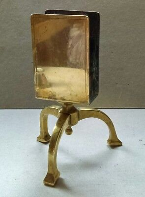 UNUSUAL HAND CRAFTED ARTS & CRAFTS BRASS MATCHBOX HOLDER on TRIPOD BASE c.1905.