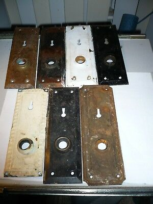 Vintage Set of 7 Metal Door Knob Skeleton Key Hole Back Plates - Mixed Lot