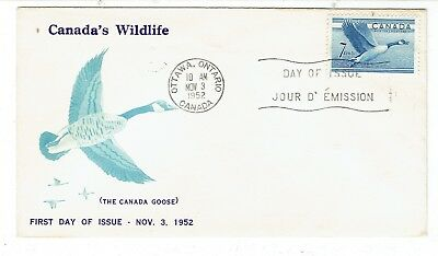 1952 Ottawa, Ont. 7c Canada Goose First Day Cover FDC Unusual Cachet