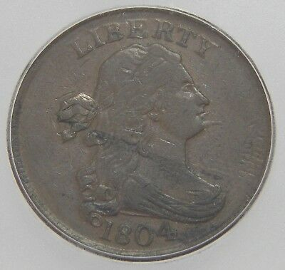 ICG VF25 1804 Draped Bust Half Cent C-6 Spiked Chin EARLY U.S. TYPE 6744
