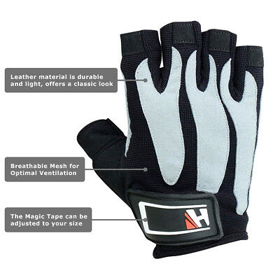 Weight Lifting Fitness Leather Sports Crossfit Workout Power Training Gym Gloves