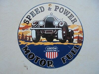 """Union Speed And Power Motor Fuel Porcelain Gas Pump Plate Sign Oil """"usa 22""""  Can"""