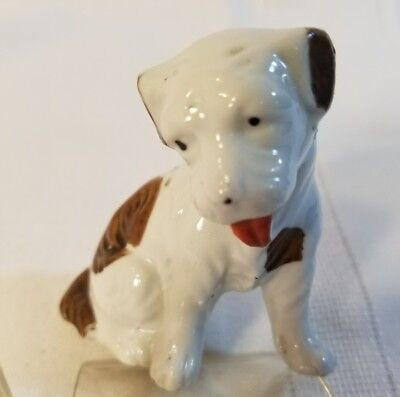 Ceramic/ Porcelain Sitting Dog Figurine,  White with brown spots Japan   1010