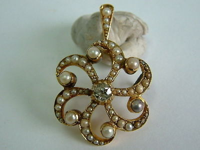 Genuine Victorian Fine Quality 15Ct Gold Seed Pearl Diamond Drop Pendant/Brooch