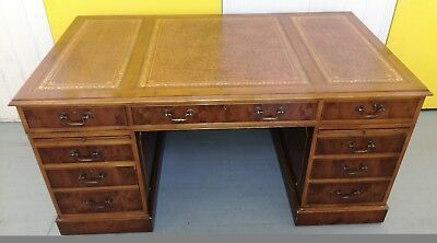 Antique  writing desk,ANTIQUE PARTNERS WRITING DESK,INLAID LEATHER,WALNUT.