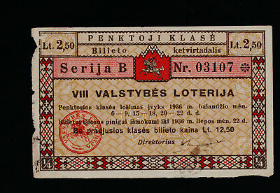 Lithuania 8th National lottery ticket 1936 5 class