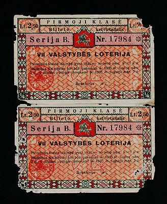 Lithuania 7th National lottery ticket 1935 1 class