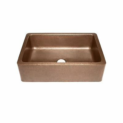 Adams Farmhouse Apron Front Handmade Copper Kitchen Sink 33 in. Single Bowl i...