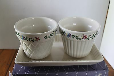Longaberger Mothers Day Early Blossoms Pottery Flower Pots and Tray