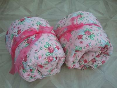 SOo Pretty! Vintage 1940s Matching RARE PAIR of Single Feather Eiderdown Quilts!