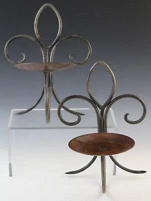 Pair Wrought Iron Fleur De Lis Candle Holder Wall Sconces
