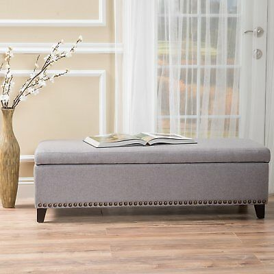 STORAGE BENCH For Bedroom Nailhead Upholstered Ottoman Sitting Foot