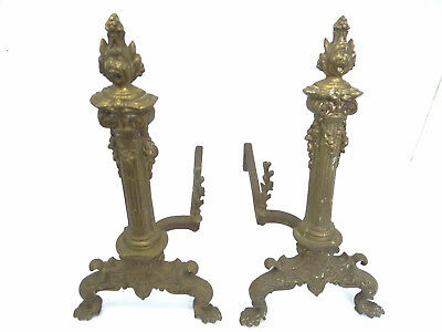 Antique Pair Victorian Eagle Claw Foot Brass Cast Iron Fireplace Andiron Hearth