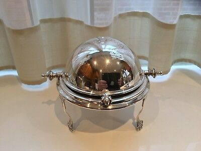 Lovely Antique S.j.levi And Co Silver Plated Paw Footed Roll Top Butter Dish