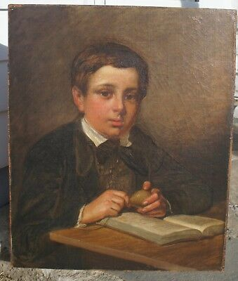 """Mid-19Th Century English School Oil On Canvas """"portrait Of A Boy With A Top"""""""